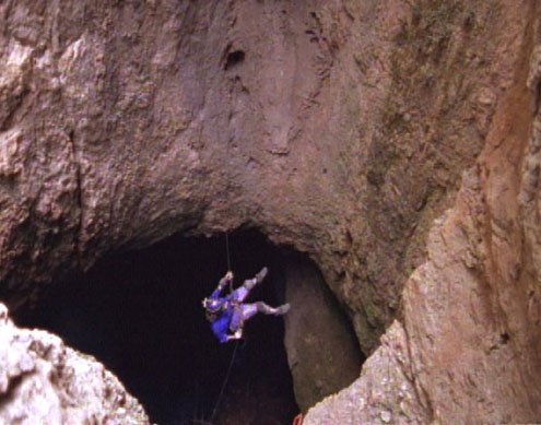 Northup rappeling into cave