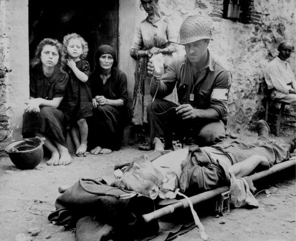 wounded soldier in WWII