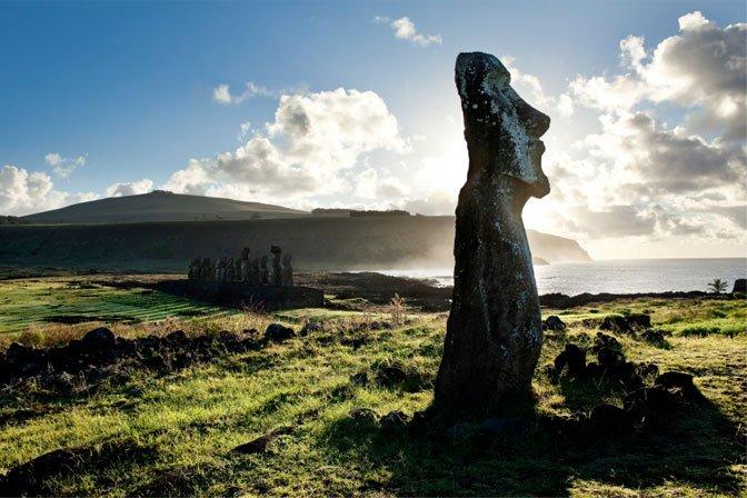 moai backlit by sun