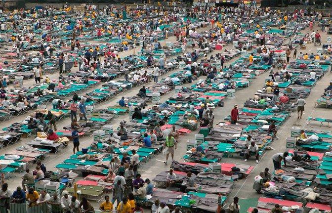Superdome with Katrina refugees