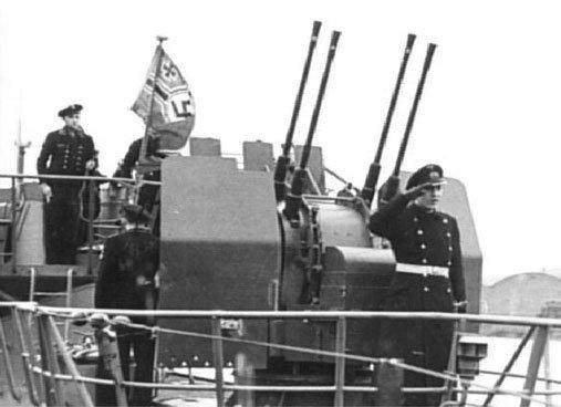 man saluting aboard U869