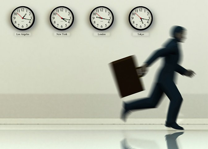 man running by clocks