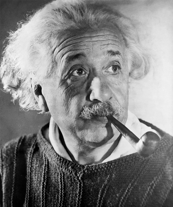 Einstein with pipe