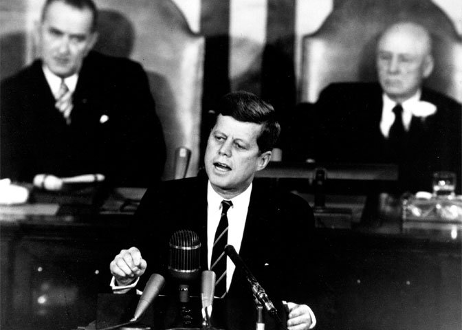 John F. Kennedy giving moon speech