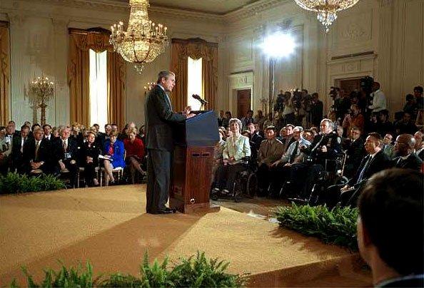 President Bush giving speech
