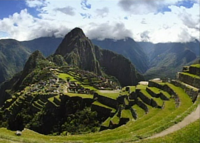 Machu Picchu with mountains