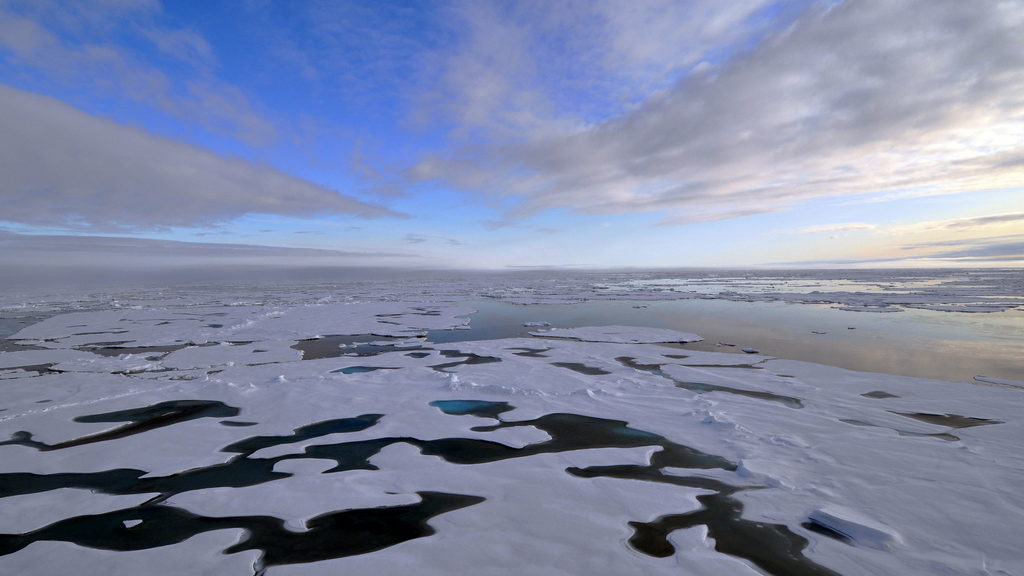 PHOTO:A sign indicating North Pole is seen among melting ice in this  undated file