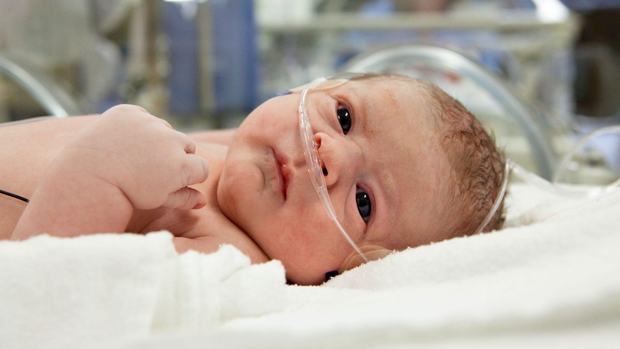 Newborn on oxygen