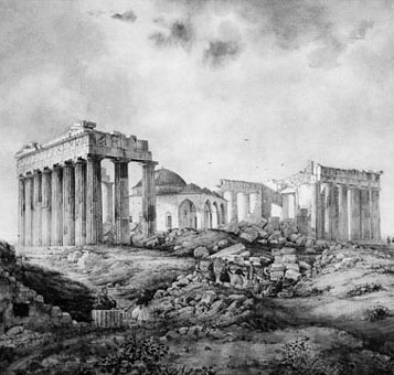 1836 engraving of Parthenon