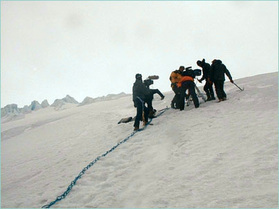 Imax film crew navigates a steep hill