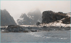 Elephant Island and penguins