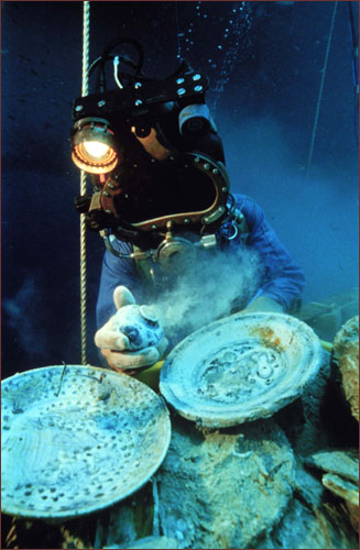 Diver with bowl