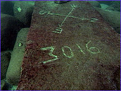 Block underwater with compass rose marked by divers in algae covering