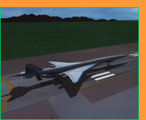 Computer-animation still of proposed plane on ground