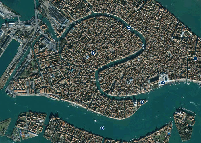 Satellite view of Venice (city)