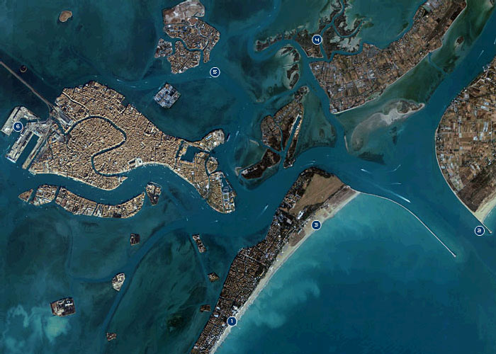 Satellite view of Venice lagoon