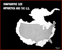Map comparing size of Continental US and Antarctica