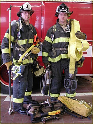 Firefighters, completely outfitted