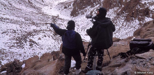 Mitchell Kelly and chief guide Dorfe Chitta during filming