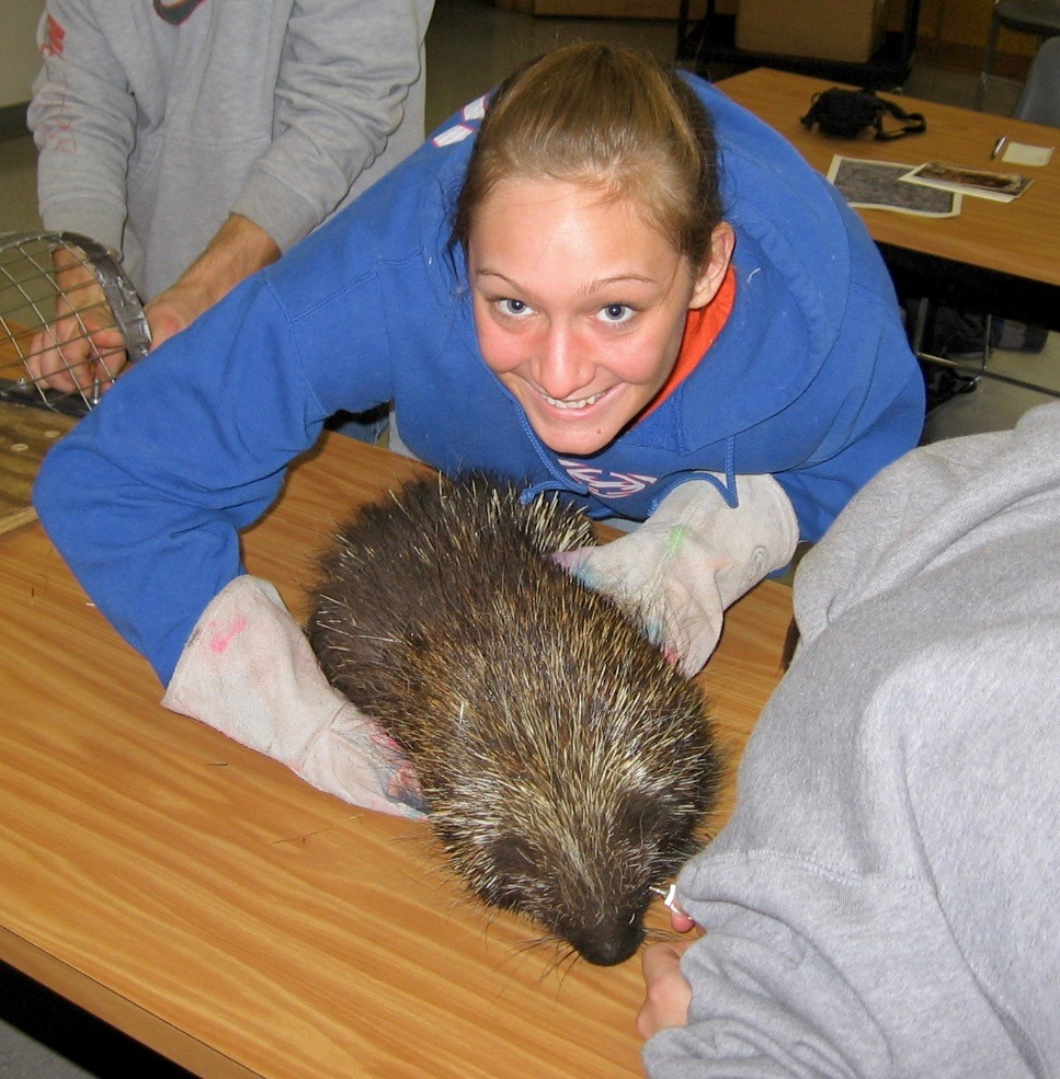 Student with a porcupine