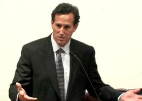 Rick Santorum speaking on the role of religious faith in public life in Houston, Texas in 2010.