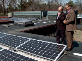 Solar panels on the roof of the Adat Shalom Synagogue