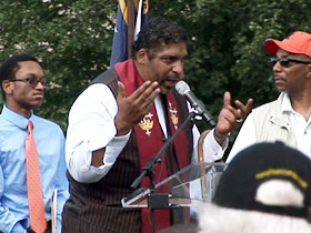 Pastor William Barber speaking at rally