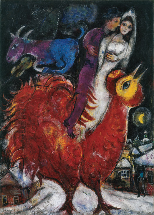 Marc Chagall, The Bride and Groom on Cock, 1939-1947, oil on canvas