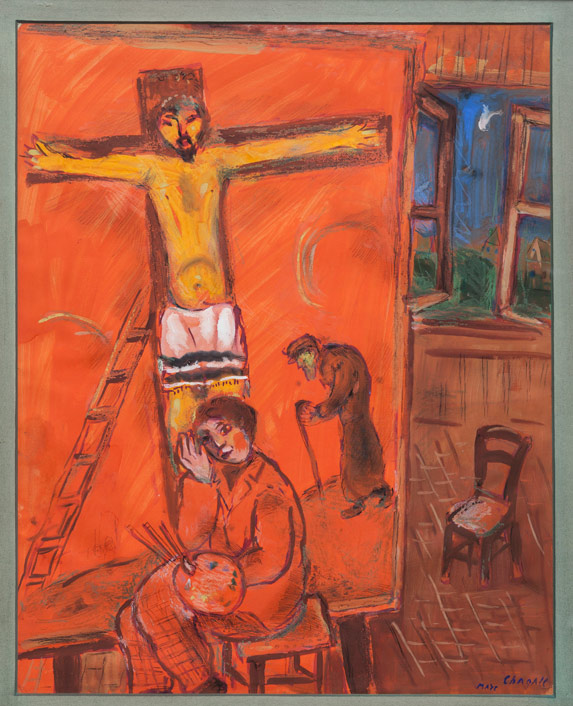 Marc Chagall, The Artist with Yellow Christ,1938, gouache and pastel on paper